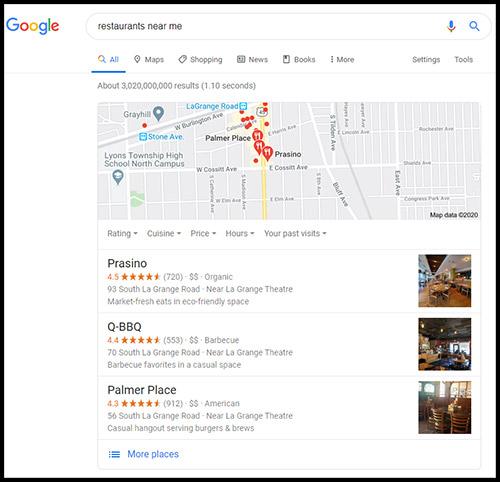 Google Search for restaurants near me